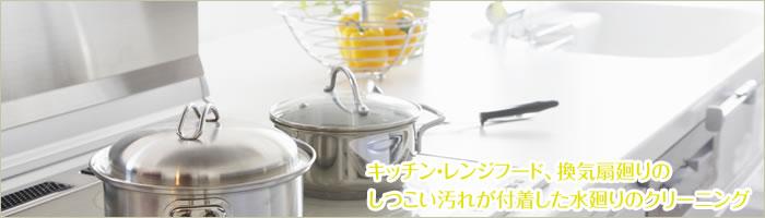 キッチン・レンジフード・換気扇廻りのしつこい汚れが付着した水廻りのクリーニング